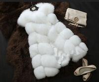 Women's Winter Faux Fox Fur Warm Vest Long Coat Jacket Slim Trench Parka Outwear