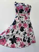 Morgan Floral Pink Black Dress Size 8 10 Wedding Party Occasion Boho Summer Fit