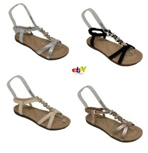 Women's Ladies Sandals Summer Comfy Peep Toes Elastic Strappy Bling Shoes Sizes
