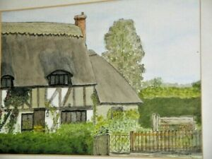 Old Cottage Suffolk England by Dr Quinlan Original Water Colour & Ink Framed
