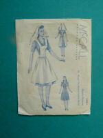 1942 McCall Sewing Pattern Peggy Nurses Uniform Dress Doll Clothes 6600-1 Uncut