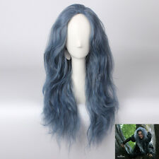 New Movie Into the Woods Long Wavy Grey mix blue Witch Anime Cosplay Hair Wig y8