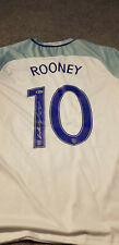 Wayne Rooney #10 Signed England Blue White Soccer Jersey Sz XL Beckett BAS COA