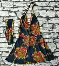 Vintage 60s 70s floral gogo mini plunge dress matching belt head scarf S