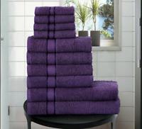 Luxury 10 PC Towel Bale Set 100% Cotton Face Hand Bath Sheet Towels Set