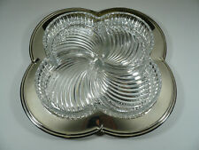 Large Godinger Silver Glass Divided Tray