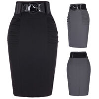 New Womens black Bodycon Pencil High Waisted Ladies Stretch Midi Skirt with Belt