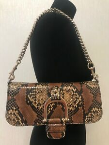 Authentic Gucci Python chain leather purse clutch handbag