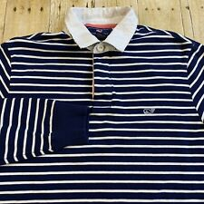 New listing Vineyard Vines Navy Blue White Striped Long Sleeve Rugby Polo Shirt Extra Small