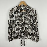 H&M Blouse Top US 6 AU 8-10 Multicoloured Cat Print Long Sleeve Pussy Bow