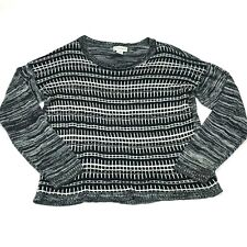Sag Harbor Womens Top Long Sleeve Black White Pullover Sweater Size X-Large
