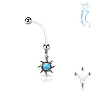 Turquoise Sun Pregnancy Belly Rings Bioflex Surgical Steel Pregnant Navel Set