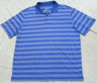 Nike Golf Dri Fit Blue & White Polo Shirt Top XXL Short Sleeve 3-Button 2XL Q12