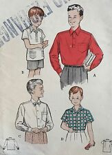 VINTAGE 1950's 'BUTTERICK' CLASSIC BOYS SHIRT PATTERN 5839 - SIZE 10