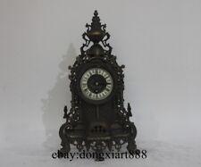Europe Retro Pure Bronze Art Deco Glass Castle Mechanical Remontoir Table Clock
