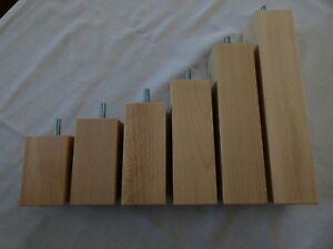 Tischbein Möbelfüße Füße HOLZ M8-M10 BUCHE NATUR Höhe 8cm. bis 50cm. / 50X50mm.