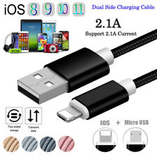 1M 2IN1 2.1A Micro USB Trenzado Cable de carga Para Samsung S7 iPhone 8 7 6 Plus