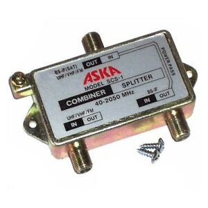 Satellite TV Antenna Signal Diplexer Filter 40-2050 MHz Power Passing ASKA SCS-1