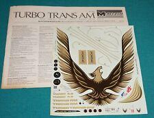 Turbo Trans Am Monogram 1/8 Decals & Instructions.