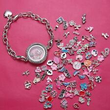 New Rhinestone Living Memory Floating Charm Round Photo Frame Locket Bracelet