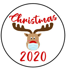 30 Reindeer Mask Christmas 2020 Stickers Envelope Seals Labels Cards Merry