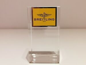 """GENUINE LUXURY DESK TABLE SOLID CRYSTAL WATCH DISPLAY STAND """"BREITLING""""/MINT"""