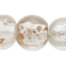 "16"" Strand (17) Lampwork Glass 24-26mm Puffed Flat Round Beads - New"