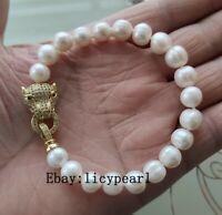 Charme Armband, 9-10mm weiß Süßwasser Perle Armband 8inch