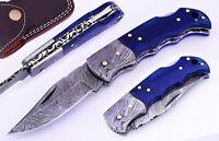 "DAMASCUS Blue Bone Handle Straight Folding TOP LOCK Pocket Knife /Case/6.5"""