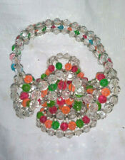 """1950s Safety Pin Art, Multi-color Beaded Basket 6"""""""