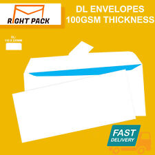 More details for quality dl plain 100gsm white envelopes peel and seal strong paper 110mm x 220mm
