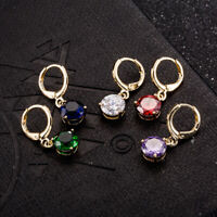Fashion Simple Women 18K Yellow Gold Plated Round Crystal CZ Dangle Hoop Earring