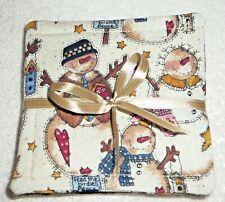 "Coasters~Set Of 4~""Christmas""~Set Of 4~Fabric~Reversible~Washa ble~Lined~New"
