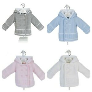 Baby Boys/Girls Knitted Double Breasted Fully Lined Hooded Pram Jacket 0-18 Mo's