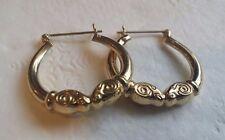ELEGANT & UNUSUAL 14K GOLD RAM'S HEAD HOOP EARRINGS - BEAUTIFUL !!