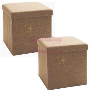 NEW Set of 2 x Seville Classics Foldable Storage Cube Ottoman Seat Housewarming!