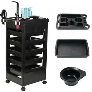 Large 5 Drawers Salon Hairdresser Barber Beauty Spa Trolley Cart Storage Carts