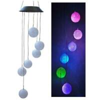 Solar Wind Chime Ball Shape Color Changing LED Light Hanging Garden Yard Decor