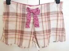 M&S Limited Collection Shorts PJs Nightwear Beige Pink Check Plaid Summer UK 12