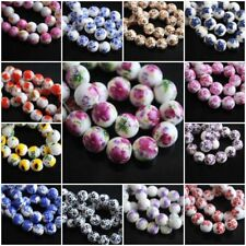 10mm Loose Lampwork Colorized Flowers Round Porcelain Beads Spacer Craft Jewelry