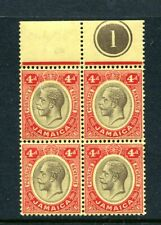 """Jamaica 1914 GV 4d. on white back mint top marginal block of 4 plate number """"1"""""""