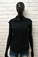 Camicia LEVIS Donna Taglia Size S Maglia Blusa Shirt Woman Cotone Nero Smanicato