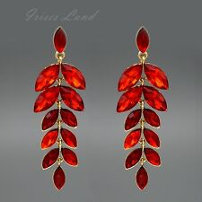 18K Gold Plated Red Crystal Rhinestone Drop Dangle Chandelier Earrings 00160 New