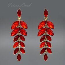 18K Gold Plated Red Crystal Rhinestone Drop Dangle Chandelier Earrings 00160 New