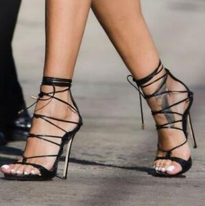Womens Peep Toe Roman Strappy Lace Up Stiletto High Heels Sandals Clubwear Sz