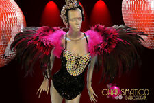 4f48fbb8932 CHARISMATICO Lovely Pink & black Feather Shoulder collar style showgirl  backpack