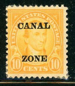 "CANAL ZONE MNG Selections: Scott #75 10c Orange MONROE Flat ""A"" CV$40+"