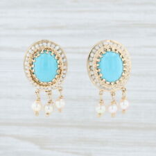 Vintage Imitation Turquoise Pearl Earrings 14k Gold Non Pierced Screw Back