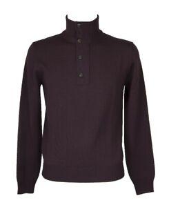 SG Maglia pullover uomo manica lunga collo alto mezza zip + bottoni pura lana me