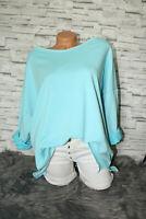 Italy Shirt Pulli Oversized Sweatshirt Türkis Vintage Gr. 36 38 40 42 blogger